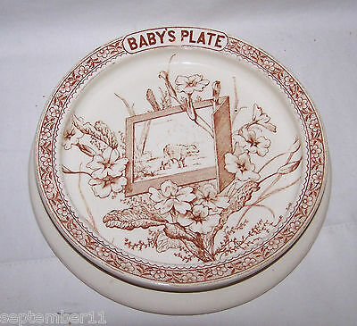 Antique LINNAEUS & K Co.1880 Brown Transferware Aesthetic Movement Baby's Plate