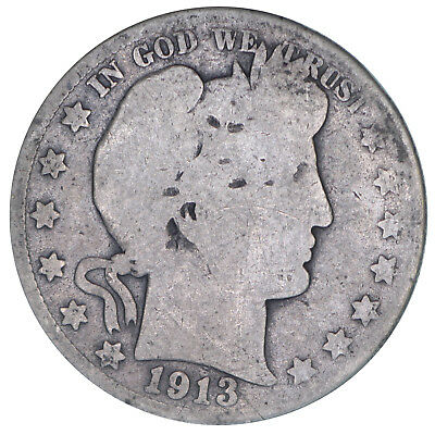 1913 S Barber Half Dollar 90% Silver About Good AG