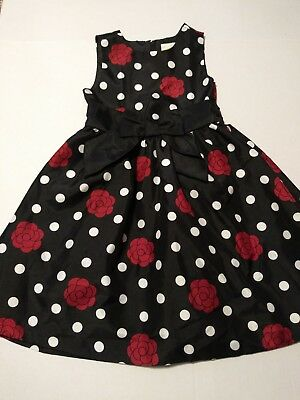 89717675351b1 EUC CRAZY 8 Girls HOLIDAY DRESS Polka Dots Roses HOLIDAY PICTURES Size 5