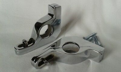 Chrome-Stair Rod Brackets / Clips - Sets Available - 1 Pair - Hinged