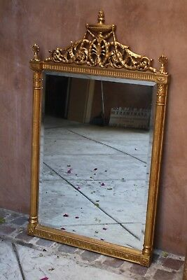 """Magnificent 19C French Gold Leaf Handcarved Wood Beveled Mirror Signed """"Must See"""