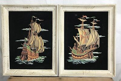 Lot 2 Black Velvet Paint Numbers Completed Boats Ships Ship Sail Spanish Framed