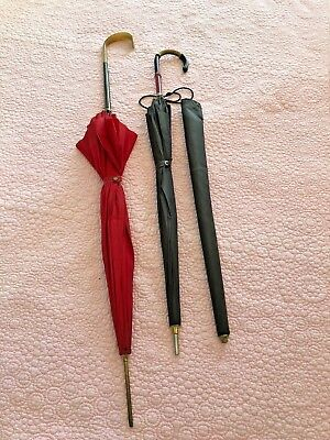 Vintage Umbrellas Set of Two Red Saks Fifth Ave  Brown Lord & Taylor with sheath