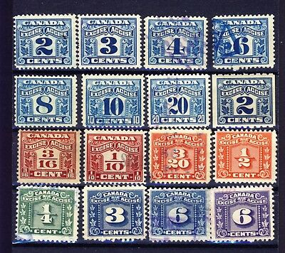 16x Canada Excise Revenue stamps 10x 2-leaf including 2c coil, 6x 3-leaf
