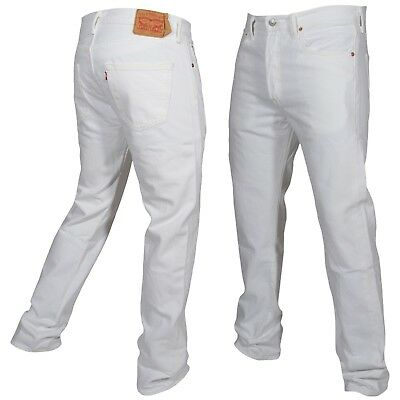 Levis 501 Button Fly Jeans Original Fit Mens Many Sizes White New With Tags!!!