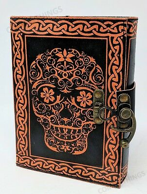 "Death's Head ~ Genuine Leather Journal Large 7"" X 5.5"" w/ brass clasp"