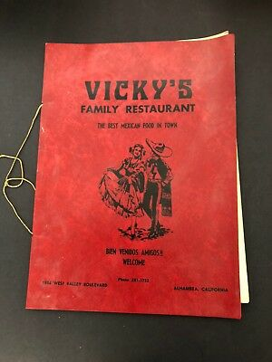 Vicky's Family Restaurant Vtg Mexican Menu Alhambra Los Angeles California
