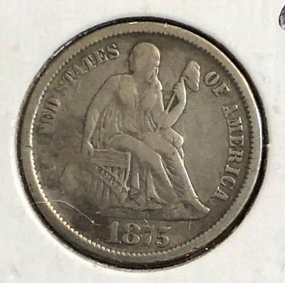 1875-cc 10c Seated Liberty Dime - Nice VF better date coin.