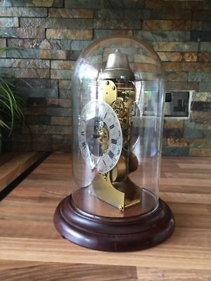Kieninger Skeleton Clock Glass Dome Bell Strike Pendule Key German Vintage
