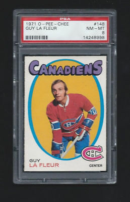 1971-72 O-Pee-Chee OPC #148 Guy Lafleur PSA 8 Rookie Card RC Montreal Canadiens