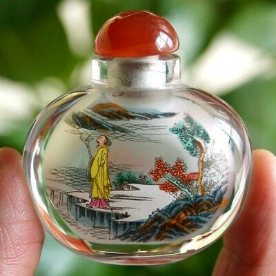 Chinese Collectible  Handmade Inside painted Ancient landscape Snuff Bottle