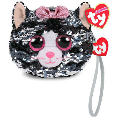 """New 2018 TY 5"""" KIKI the Cat Fashion Flippy Sequin Wristlet Coin Purse with Strap"""