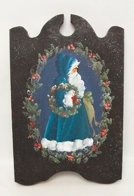 Vintage Old World Santa Hand Painted on Wood Plaque Wall Hanging Christmas Decor