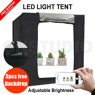 Photography Studio LED Light Tent Photo Box Continuous Lighting Room + Backdrops