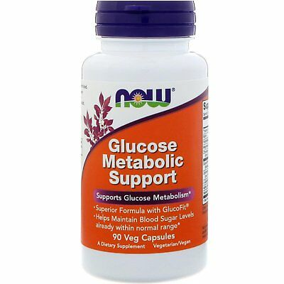 Now Foods Glucose Metabolic Support 90 Veg Capsules GMP Quality Assured, Vegan,