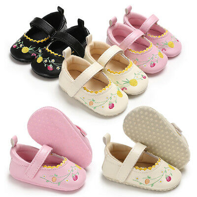Newborn Baby Girl Soft Sole Frosted Crib Shoes Infant Mary Jane Trainers 0-18 M
