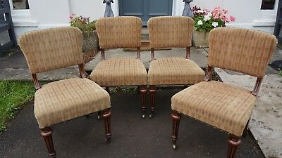 4 Victorian Mahogany Boardroom / Dining Chairs - Stunning Reeded Legs