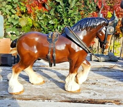 Very Large Vintage Melba Ware Ceramic Shire Horse with Harness c.40 cm 16' VGC