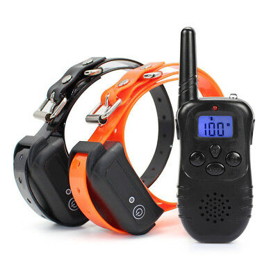 330Yard For 2 Dog LCD Electric Shock Training Remote Control Collar Rechargeable