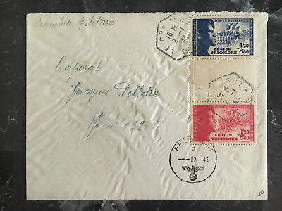 1943 France Cover Waffen SS Foreign Legion Volunteer Stamps with Tab Feldpost