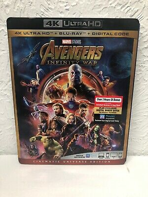 Avengers Infinity War 4K (4K Ultra HD+Blu-ray+Digital HD) 2018 with slipcover