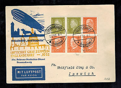 1932 Germany Graf Zeppelin Postcard Cover to Ipswich England