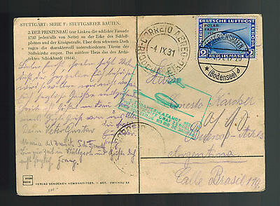 1931 Germany Graf Zeppelin RPPC Postcard Cover to Argentina LZ 127 # C 41