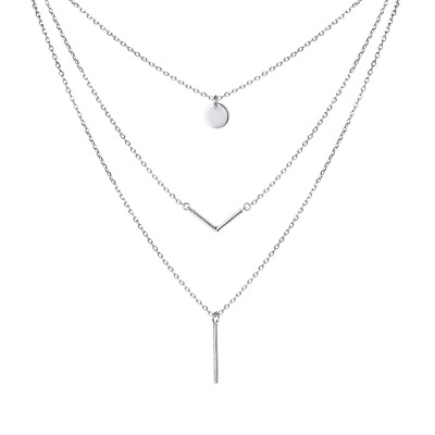 """S925 Sterling Triple Layer Pendant Choker Necklace for Women 16""""+2"""" NEW US SHIP"""