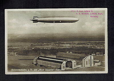 1935 Germany Graf Zeppelin LZ 127 RPPC Postcard Cover to Santiago Chile 15th SAF