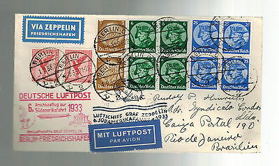 1933 Germany Graf Zeppelin Airmail Cover LZ 127 to Brazil 6th SAF
