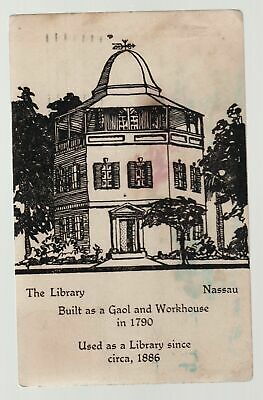 1930 Bahamas postcard cover to USA depicts Nassau Library Gaol Jail