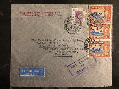 1941 Hong Kong Airmail Uncensored Cover to USA Pan American airways PAA