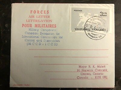 1970s Vietnam Forces Air Letter Used In Thailand Cover To Ottawa Canada
