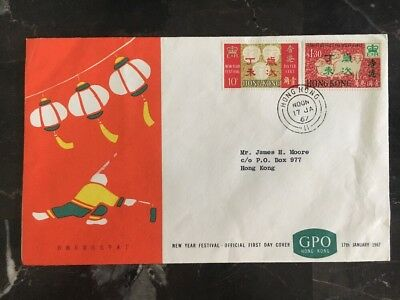1967 Hong Kong First Day Cover FDC Lunar New Year Of The Goat