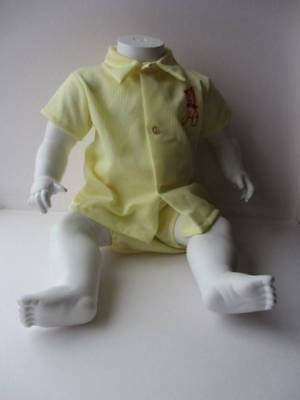 Vintage 60's baby two piece yellow horse motif boy short and shirt set age 1