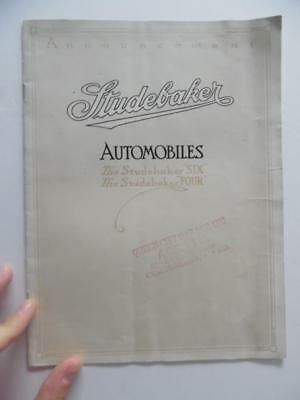 1914 Studebaker Four and Six Catalog Brochure Brass Age Announcement Antique VG