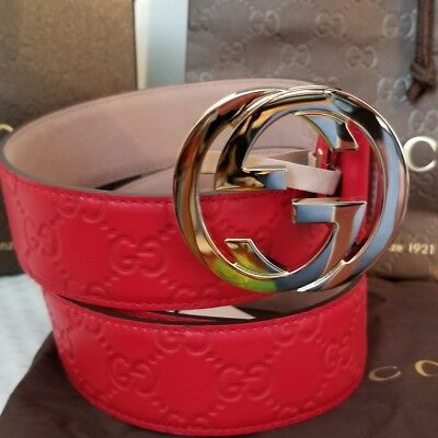 e10fe86cf44 AUTHENTIC GUCCI BELT Red Guccissima Print with Gold Buckle fits 32 ...