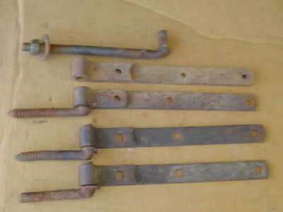 Lot of 4 Vintage barn gate & door iron Strap Hinge w pins hanger heavy duty #3