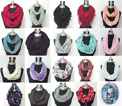 New Women HIGH QUALITY Fashionable Infinity Scarf Wrap Cowl Circle Loop &Red SIM