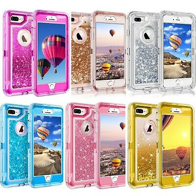 Clear iPhone 8 Plus X 7 6S Plus 6 Glitter Liquid Defender Case Clip Fit Otterbox