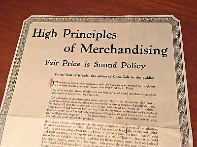 Coca Cola 1930s Advertising Flyer Fair Pricing Is Sound Policy Paper Rare!