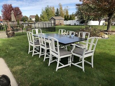 Drexel Dining Room Table And Chair Set Farmhouse Style 8 Chairs Refurbished