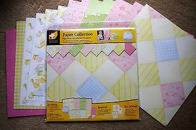 American Designs Welcome Baby Girl 12x12 Paper Collection Kit BONUS Accents