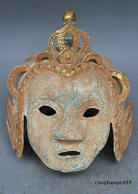 Rare Chinese Bronze Ware Gilt Ancient Belle Beauty People Human Face Mask Masks