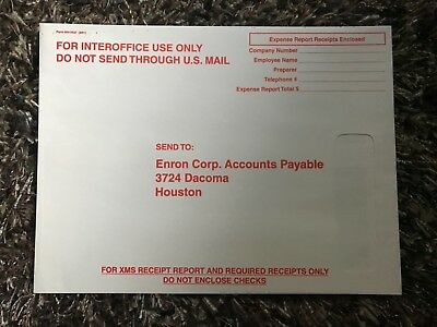 Enron Authentic InterOffice Mail EXPENSE REPORT Accounts Payable Envelope HOU TX