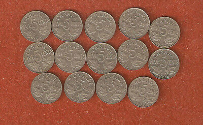14 Dfferent King George V five cent coins includes 1926 N6 all nice coins A31