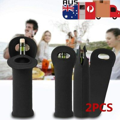 2Pcs Single Wine Bottle Holder Single Neoprene Beer Can Cooler Bag Carrier Black