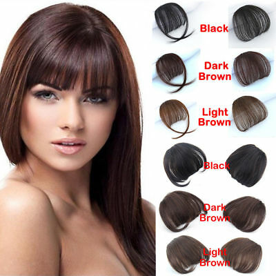 Clip In on Bangs Fringe AS 100% Human Hair Extensions Hairpiece Front Neat Hair