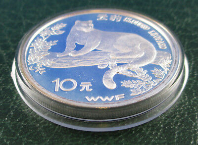 1998 10Yuan China Silver Proof Coin - Wwf Conserving Nature - Leopard -