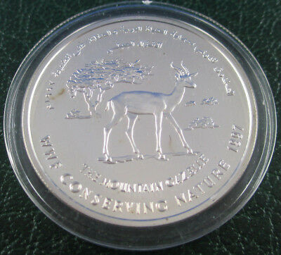 1997 One Riyal Oman Silver Proof Coin - Wwf Conserving Nature - Gazelle -